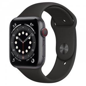 Apple Watch Series 6 44mm GPS + LTE (cellular) Aluminium w kolorze gwiezdnej szarości z paskiem sportowym w kolorze czarnym