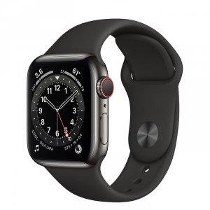 Apple Watch Series 6 40mm GPS + LTE (cellular) Stal nierdzewna w kolorze grafitowym z paskiem sportowym w kolorze czarnym - outlet