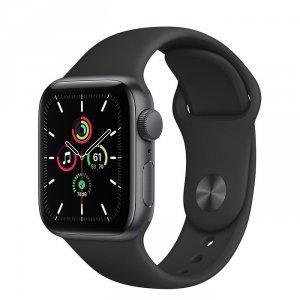 Apple Watch SE 40mm GPS Aluminium w kolorze gwiezdnej szarości z paskiem sportowym w kolorze czarnym - outlet