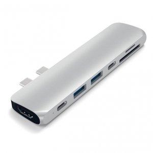Satechi USB-C PRO HUB - Thunedrbolt 3 / HDMI / USB 3.0 / USB-C / SD / microSD / Silver (srebrny)