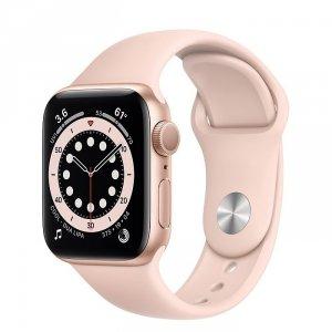 Apple Watch Series 6 40mm GPS + LTE (cellular) Aluminium w kolorze złotym z paskiem sportowym w kolorze piaskowego różu