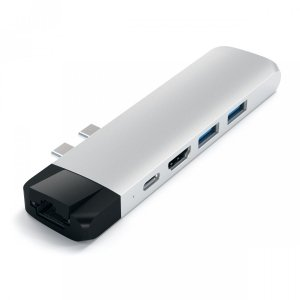 Satechi PRO Ethernet USB-C HUB - Ethernet / HDMI / USB 3.0 / USB-C PD / microSD Silver