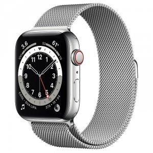 Apple Watch Series 6 44mm GPS + LTE (cellular) Stal nierdzewna w kolorze srebrnym z bransoletą mediolańską w kolorze srebrnym