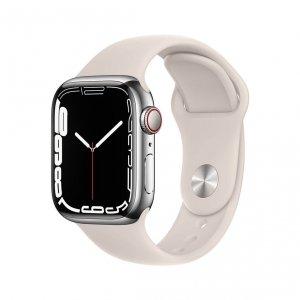Apple Watch Series 7 41mm GPS + Cellular (LTE) Koperta ze stali nierdzewnej w kolorze srebrnym z paskiem sportowym w kolorze księżycowej poświaty