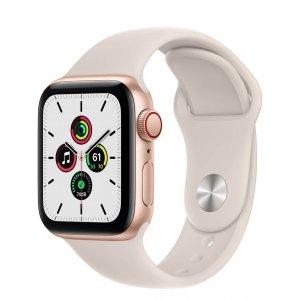 Apple Watch SE 40mm GPS + Cellular Aluminium w kolorze złotym z paskiem sportowym w kolorze księżycowej poświaty
