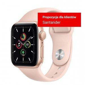 Apple Watch SE 40mm GPS Aluminium w kolorze złotym z paskiem sportowym w kolorze piaskowego różu - nowy model - Strefa Santander