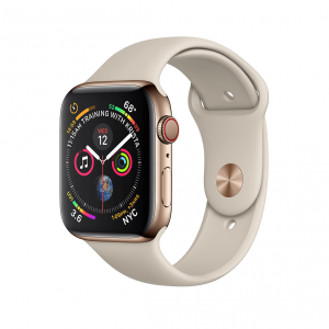 Apple Watch Series 4 / GPS + LTE / Koperta 44mm ze stali nierdzewnej w kolorze złotym / Pasek sportowy w kolorze piaskowca