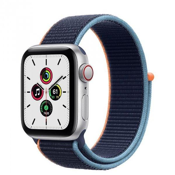 Apple Watch SE 40mm GPS + LTE (cellular) Aluminium w kolorze srebrnym z opaską sportową w kolorze głębokiego granatu - nowy model