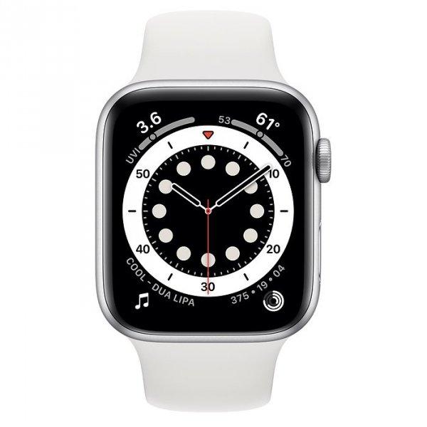 Apple Watch Series 6 44mm GPS + LTE (cellular) Aluminium w kolorze srebrnym z paskiem sportowym w kolorze białym