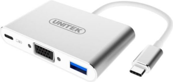 Unitek USB-C Multiport HUB VGA / USB 3.0 / USB-C (Power delivery) Silver