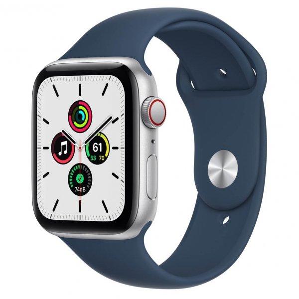 Apple Watch SE 44mm GPS + Cellular Aluminium w kolorze srebrnym z paskiem sportowym w kolorze błękitnej toni