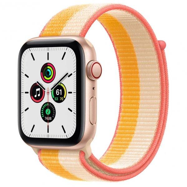 Apple Watch SE 44mm GPS + Cellular Aluminium w kolorze złotym z opaską sportową w kolorze jesiennego liścia/białym