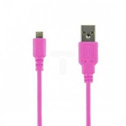 Kabel transmisja i ładowanie micro USB 1.0m różowy 07950-OEM