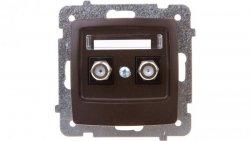 KARO Gniazdo antenowe podwójne typu F czekoladowy metalik GPA-2SF/m/40