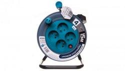 Przedłużacz bębnowy MINI 15m 4x230V /PVC 3x1mm2/ turkusowy OR-AE-1339/T