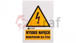 Tabliczka ostrzegawcza /WYSOKIE NAPIĘCIE NIEBEZPIECZNE DLA ŻYCIA 52X74/ 3EOA/Q1/F