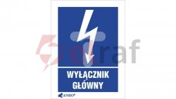 Tabliczka ostrzegawcza /Wyłącznik główny 148x210/ 1EIA/Q4/F