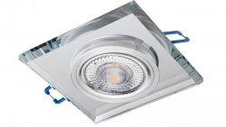 Oprawa szklana GLASSO-K-S kwadrat srebrna 90x8 halogenowa wpuszczana - 1szt LUX06744