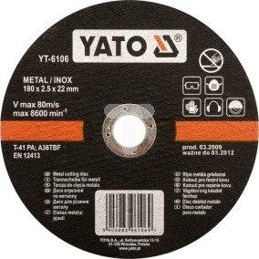 Tarcza do cięcia stali nierdzewnej Yato 125x1,2x22,2 mm YT-6103