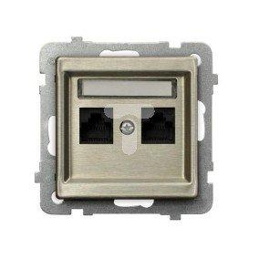 SONATA Gniazdo komputerowe podwójne 2xRJ45 kat.6 nowe srebro GPK-2RM/T6m/44
