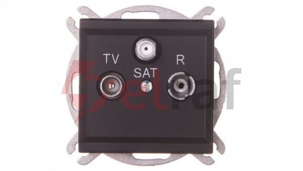 SONATA Gniazdo antenowe RTV-SAT przelotowe czarny metalik GPA-RSP/m/33