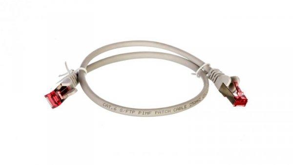Kabel krosowy patchcord S/FTP (PiMF) kat.6 LSZH szary 0,5m 50885