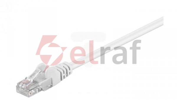 Kabel krosowy patchcord U/UTP kat.5e CCA biały 0,5m 68500