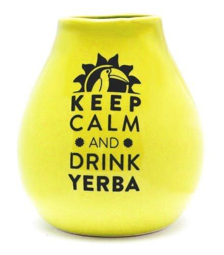 Matero Ceramiczne Żółte Keep calm and Drink Yerba Mate
