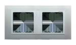 Ramka 2- krotna aluminium / aluminium mat