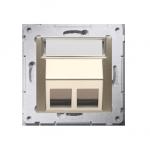 Pokrywa gniazd teleinformatycznych na Keystone skośna podwójna złoty mat, metalizowany