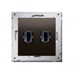 Gniazdo HDMI podwójne brąz mat, metalizowany