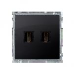 Gniazdo HDMI podwójne grafit mat, metalizowany