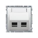 Pokrywa gniazd teleinformatycznych na PANDUIT, skośna podwójna z polem opisowym biały