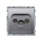 Gniazdo antenowe R-TV przelotowe tłum.:10dB srebrny mat, metalizowany