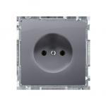 Gniazdo wtyczkowe podjedyncze bez uziemienia z przesłonami torów prądowych srebrny mat, metalizowany 16A