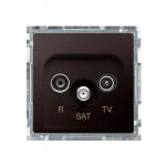 Gniazdo antenowe R-TV-SAT przelotowe tłum.:10dB czekoladowy mat, metalizowany