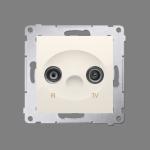 Gniazdo antenowe R-TV zakończeniowe do gniazd przelotowych tłum.:10dB kremowy