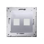 Pokrywa gniazd teleinformatycznych na Keystone płaska podwójna srebrny mat, metalizowany