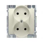 Gniazdo wtyczkowe podwójne bez uziemienia z przesłonami torów prądowych beżowy 16A