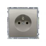 Gniazdo wtyczkowe pojedyncze z uziemieniem z przesłonami torów prądowych satynowy, metalizowany 16A
