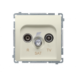 Gniazdo antenowe R-TV-SAT przelotowe tłum.:10dB beżowy