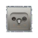 Gniazdo antenowe R-TV-SAT przelotowe tłum.:10dB satynowy, metalizowany