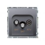 Gniazdo antenowe SAT-SAT-RTV satelitarne podwójne tłum.:1dB inox, metalizowany
