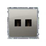 Gniazdo HDMI podwójne satynowy, metalizowany