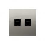 Gniazdo komputerowe RJ45 kategoria 5e + telefoniczne RJ11 (moduł) satynowy, metalizowany