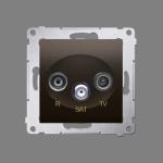 Gniazdo antenowe R-TV-SAT przelotowe tłum.:10dB brąz mat, metalizowany