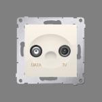 Gniazdo antenowe TV-DATA tłum.:5dB kremowy