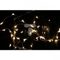 Komplet choinkowy LED 20L na baterie łezki srebrny przewód 0,3m biały ciepły 10-048