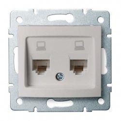 Gniazdo komputerowe podwójne niezależne, (2x RJ45Cat 5e Jack) DOMO 01-1410-030 pe 24991