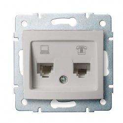 Gniazdo komputerowo-telefoniczne, (RJ45 Cat 6+RJ11) DOMO 01-1440-030 pe 24994
